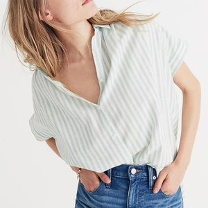 Madewell central shirt in mint strip xxs